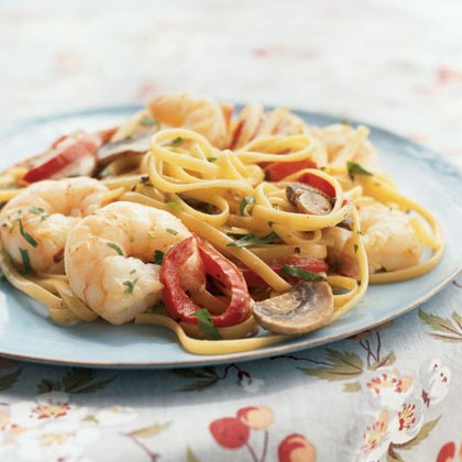 Creamy Cajun Shrimp Linguine RecipeShrimp and pasta combine with a creamy sauce for a quick and delicious dish. Round out the meal with a Caesar salad. Get Holley's Recipe Tips