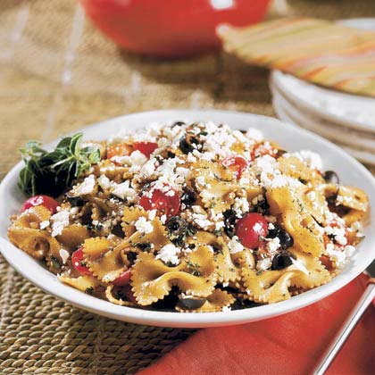 Bow Tie Pasta Toss RecipeKeep it simple and stir grape tomatoes, olives, and onion into cooked pasta, then toss with a balsamic vinaigrette.