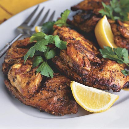 Entrée: Brick-Grilled Cornish Hens RecipeCornish hens are the perfect centerpiece to this menu. The spice rub and marinade add great flavor, as does grilling. Marinate overnight and grill 40 minutes before guests arrive to your house.