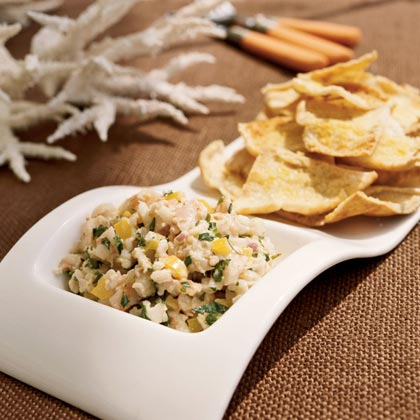 Lobster Salad with Lemon-Garlic Pita Wedges