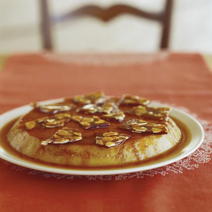 Date Flan with Almond Brittle
