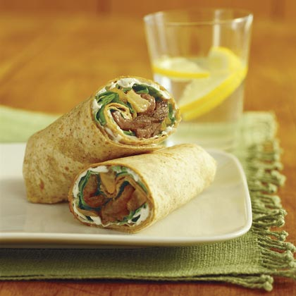 Sliced Filet Mignon Wrap with Pear-Onion Relish and Blue-Cheese DressingRecipe