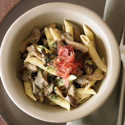 Penne with Oyster Mushrooms, Prosciutto, and Mint