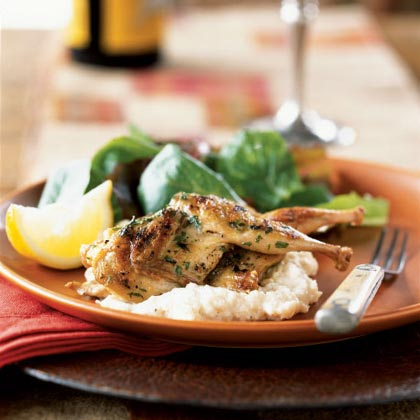 Grilled Quail with White Polenta