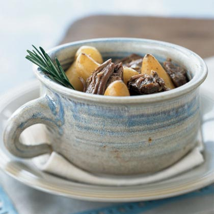 Pot-Roasted Rosemary Lamb with Fingerling Potatoes Recipe