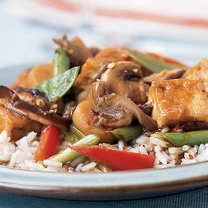 Triple-Mushroom Stir-Fry with Tofu Recipe | MyRecipes