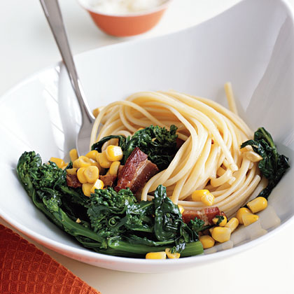 """Linguine with Broccoli Rabe, Bacon, and Corn"""