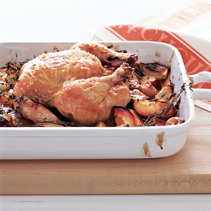 Roast Chicken with Balsamic Peaches Recipe