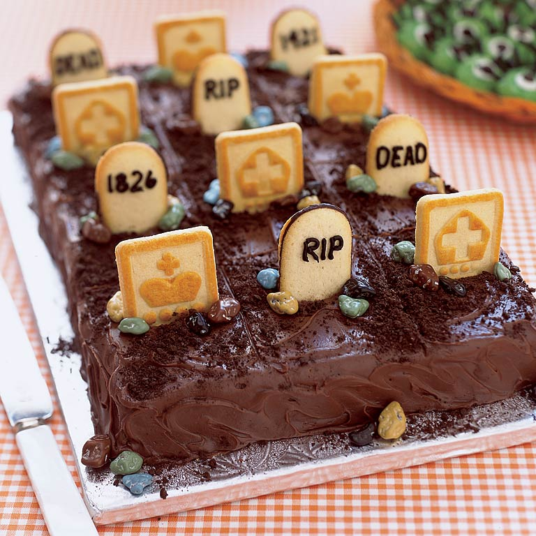 Halloween desserts definitely call for having a little extra fun in the kitchen. This kinda-cute, kinda-creepy Graveyard Cake is easy to make, fun to decorate (so recruit the kids' help), and is sure to be a perfectly spooky centerpiece for any Halloween dessert table.Graveyard Cake