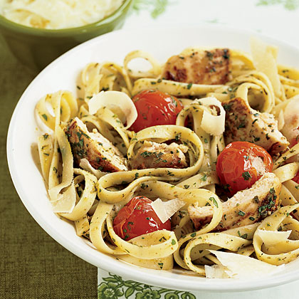 Pesto and pasta are two quintessential Italian ingredients, and when you combine them with tomatoes and chicken, you've got dinner.Pesto Fettuccine with Chicken Recipe