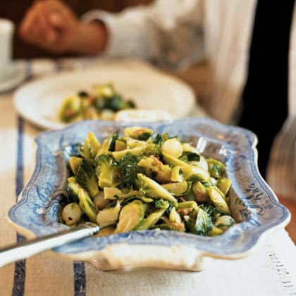Brussels Sprouts with Honey-Glazed Pearl Onions and Capocollo Recipe