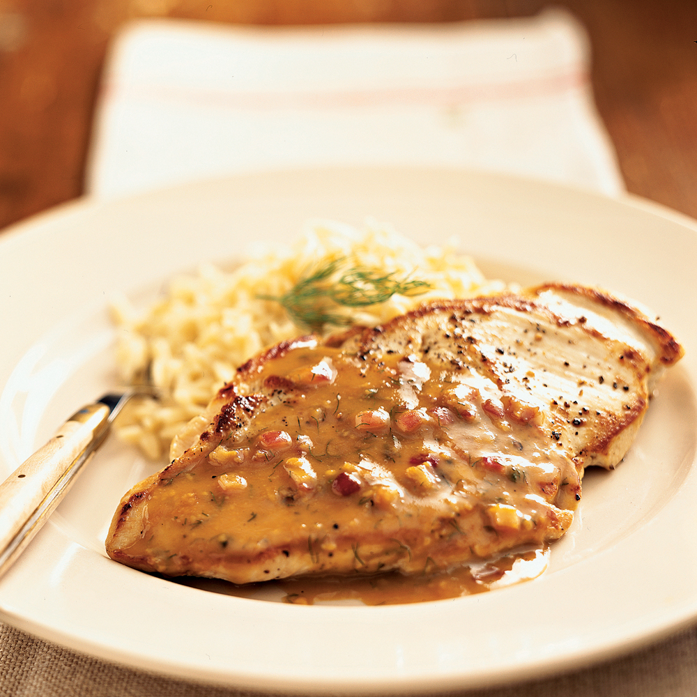 Pan-Roasted Chicken Cutlets with Maple-Mustard Dill SauceRecipe