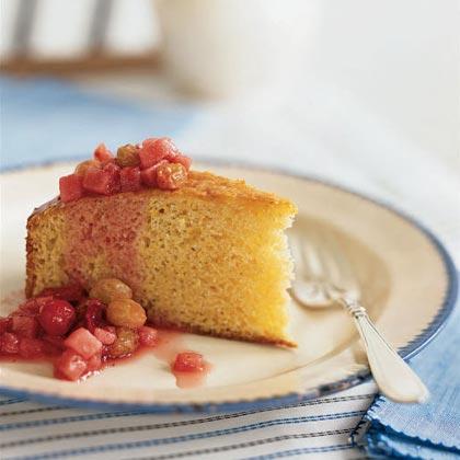 Lemon Polenta Cake with Winter Fruit Compote