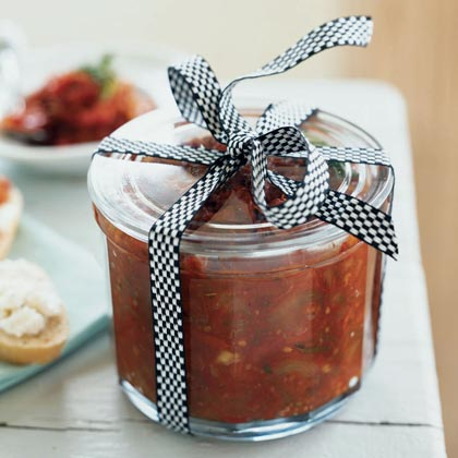 Sun-Dried Tomato Jam RecipeTie a bow on a jar of this versatile spread and include a card with serving suggestions. Friends can enjoy it as a chutney, pizza sauce, or even spooned on a log of goat cheese for a speedy appetizer.