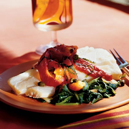 Poached Cod with Roasted Peppers, Capers, and SpinachRecipe