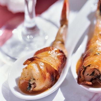 Bacon-wrapped Shrimp with Basil-Garlic StuffingRecipe