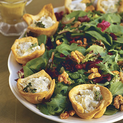 Champagne Salad With Pear-Goat Cheese Tarts Recipe