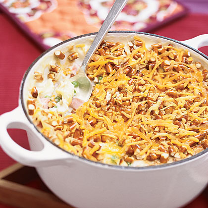 Easy Noodle Bake with Ham and Peas