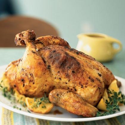 Pieczony kurczak z cytrynami i tymiankiem