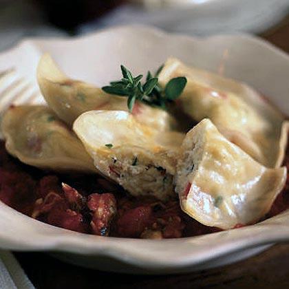 Crabmeat Ravioli with Clam Sauce
