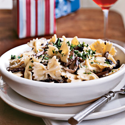 Farfalle with Creamy Wild Mushroom Sauce RecipeThe exotic mushrooms and ultra-creamy sauce make this bow-tied shaped pasta dish worthy of a special occasion. We recommend that you splurge on the premium Parmigiana-Reggiano cheese because this dish deserves it.
