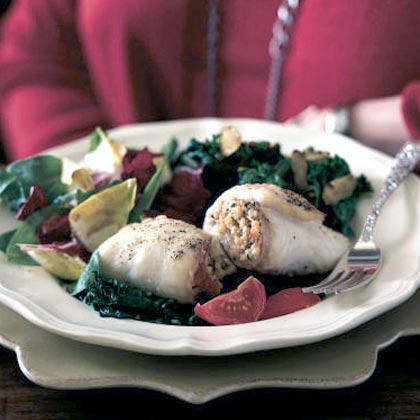 Flounder Rolls with Cherry Tomatoes and SpinachRecipe
