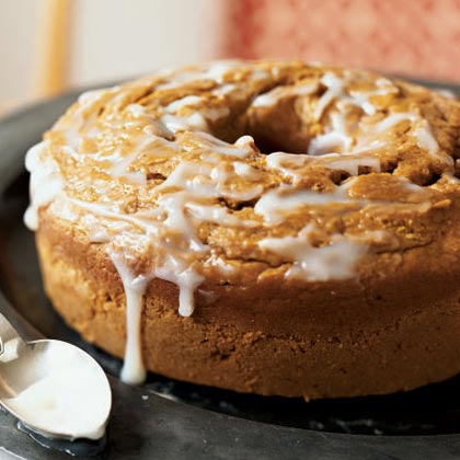 Pumpkin Pound Cake with Buttermilk Glaze RecipeMake pound cake both seasonal and healthier by adding mashed pumpkin and pumpkin pie spice to the batter and topping with a buttermilk glaze.