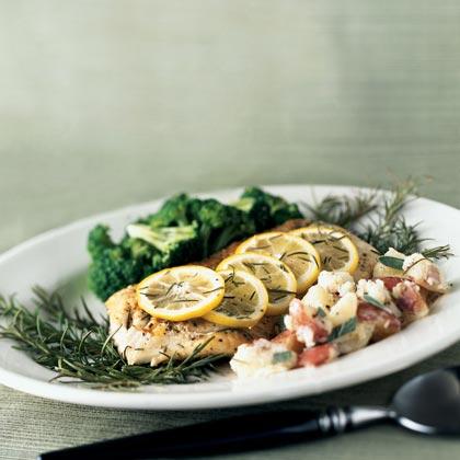 Roasted Fish on Rosemary
