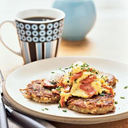 Creamy Smoked Salmon-Scrambled Eggs over Asiago Potato Pancakes