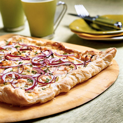 Peppered Three-Onion Tart with Smoked Salmon Recipe