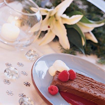 Chocolate Truffle Loaf with Raspberry Sauce