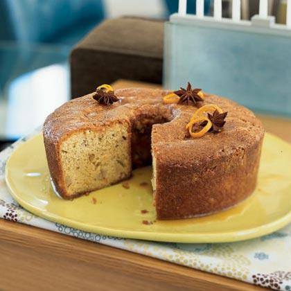 Pear-Walnut Cake with Honey-Orange Syrup