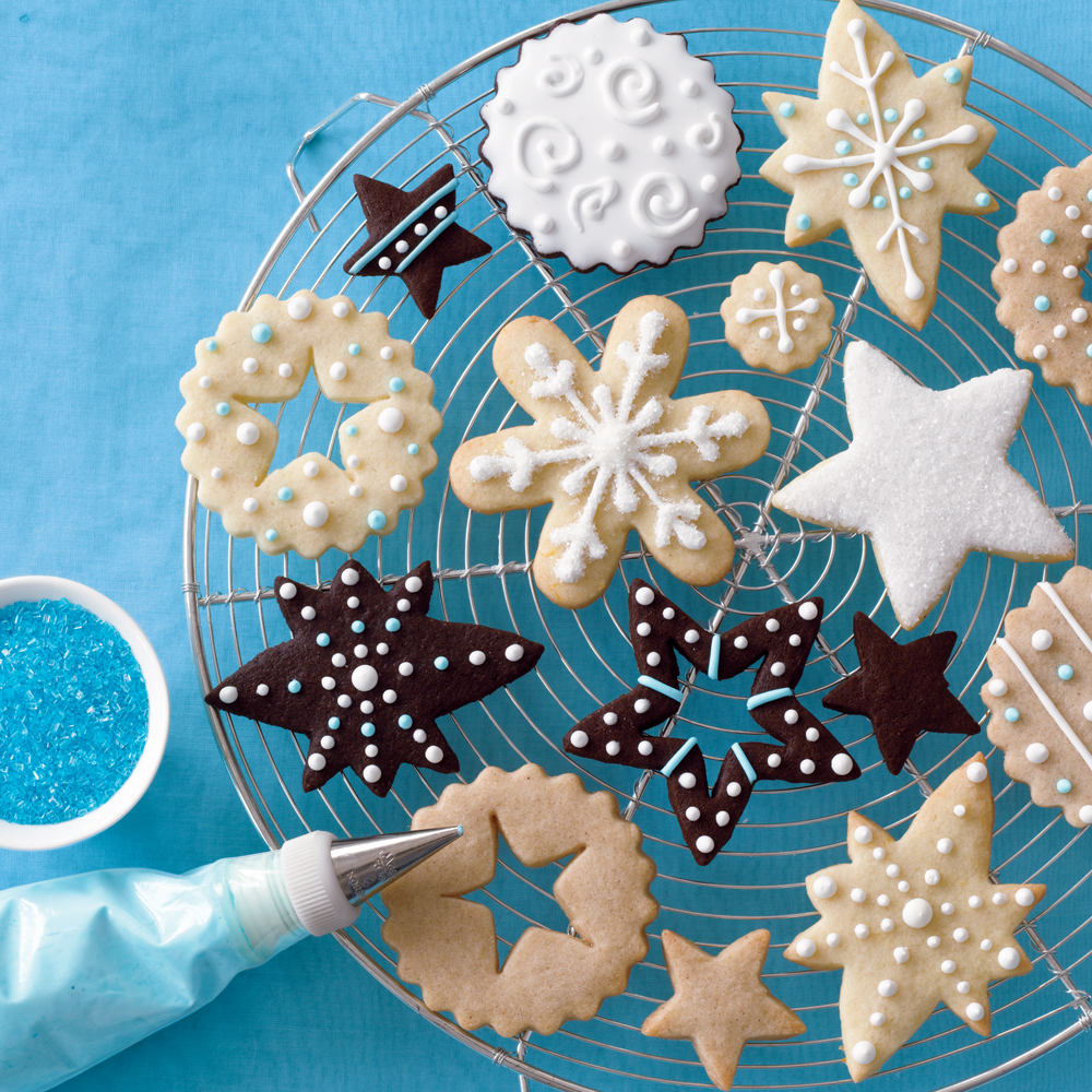 Christmas Cookies 4 Ways RecipeLove having choices? Then this recipe is for you. Stick with classic sugar cookies, or add spices, lemon zest, or cocoa for fun variations. Cut the dough into lovely holiday shapes and decorate with Royal Icing for a truly original cookie.