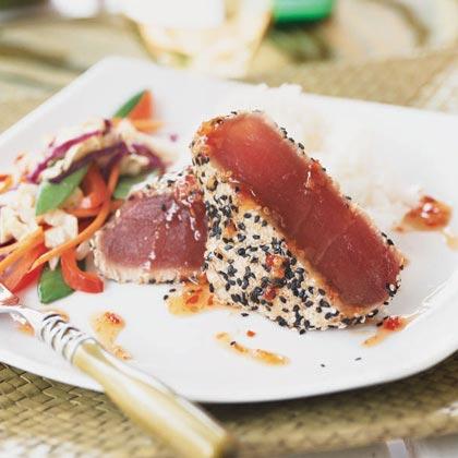 Sesame-crusted Tuna with Teriyaki Stir-Fry