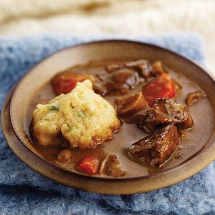 Beef-Ale Stew and Green Onion-Buttermilk Dumplings