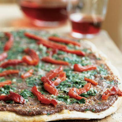 Argentine Black Bean Flatbread with Chimichurri Drizzle