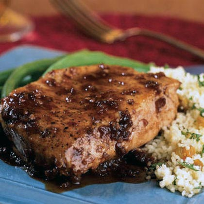 Balsamic-Plum Glazed Pork Chops Recipe | MyRecipes