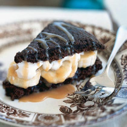Chocolate Shortcakes with Bananas and Caramel