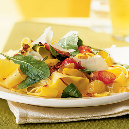Summer Pappardelle with Tomatoes, Arugula, and Parmesan Recipe