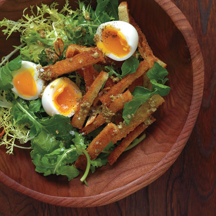 Soft-Boiled Eggs with Warm Croutons and GreensRecipe