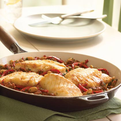 Cod with Red Pepper-Chorizo Ragout Recipe