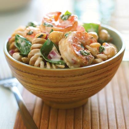 Shrimp, Lemon, and Spinach Whole-grain Pasta Salad RecipeWe lightened up this pasta salad by replacing the usual mayonnaise dressing with Greek-style low-fat yogurt, which has been strained so that it's thick and rich-tasting. Prep and Cook Time: 35 minutes.