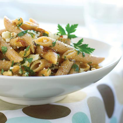 Whole-grain Penne with Walnuts, Caramelized Onions, and Ricotta Salata Recipe