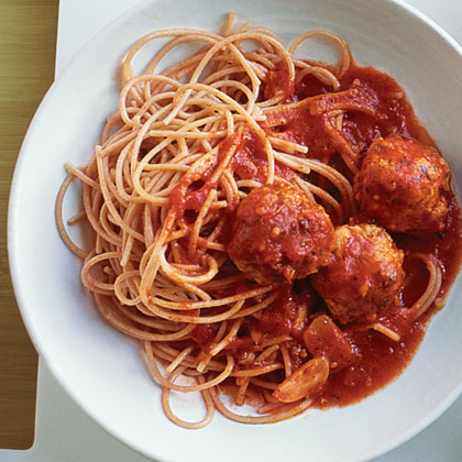 Turkey Meatballs and Spaghetti