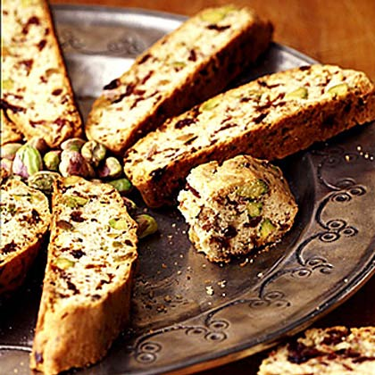 Pistachio Cherry Biscotti RecipeFor crunchier biscotti, bake an additional 5 to 10 minutes. Store at room temperature for up to one week; for longer storage, wrap airtight and freeze. Prep: 20 minutes, Bake: 50 minutes.
