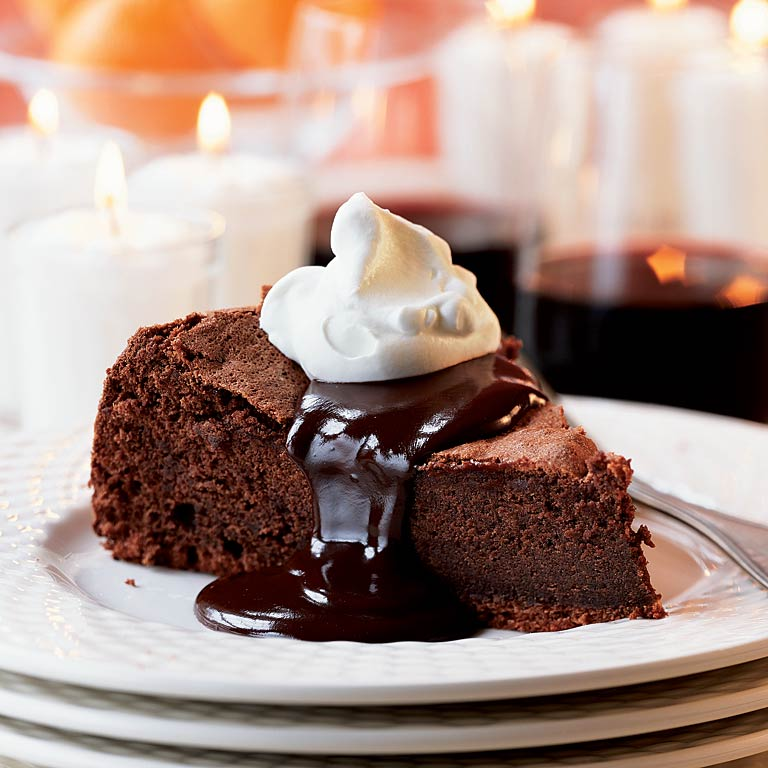 Chocolate Clementine Cake With Hot Chocolate Sauce Recipe Myrecipes