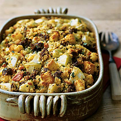 Cornbread Dressing with Chorizo and Apples
