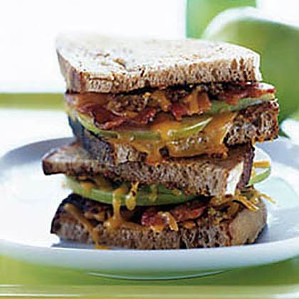 Cheddar, Bacon, and Apple with Mustard on Country Wheat Bread Recipe