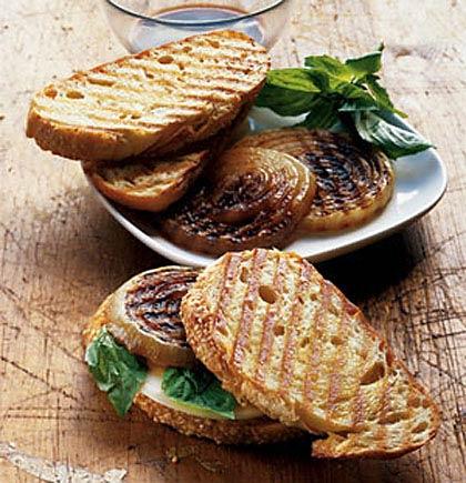 Provolone, Basil, and Onion on Italian Bread