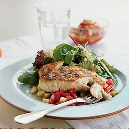 Sautéed Halibut with Gazpacho Salsa Recipe